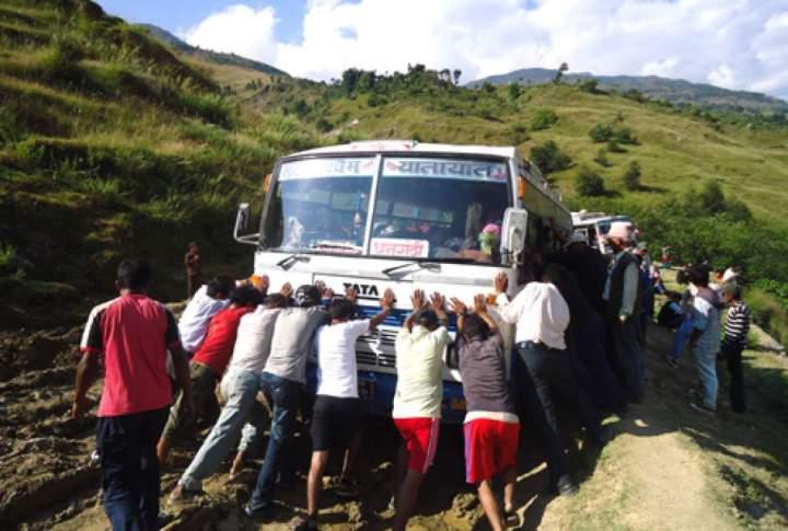 Bus stuck in Bajura road